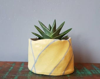 Bright yellow, ceramic plant pot, unique gift, succulent pot, pinch pot, small planter, cactus pot, hanging planter.