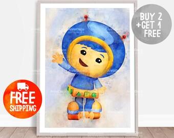 Geo Umizoomi Poster, Team Umizoomi Print, Wall Hanging, Watercolor Painting Effect, Nursery Print, Kids Cartoons Poster, C369