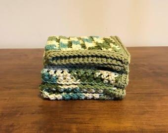 Crochet Dishcloths/Washcloths set of three Cotton