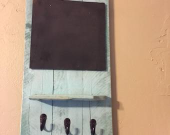 Hanging shelf with chalkboard