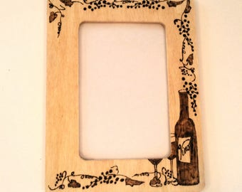 Wine Woodburnt Picture Frame 4x6