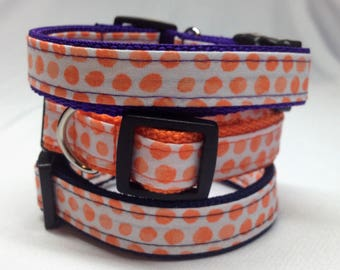 Dog Collar, Orange Dots Dog Collar
