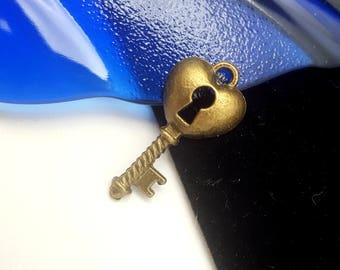 Vintage Key & Lock Charm