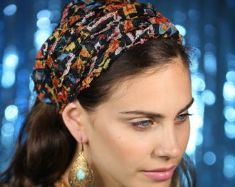Black colorful HeadBand Wonderfully  Tichel  Lace  Bandana, Head Covering,scarf, Half Coveing,turban,loss Hair,wig, solid covered full head