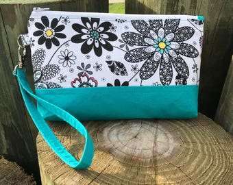 Black, white and turquoise, floral wristlet purse