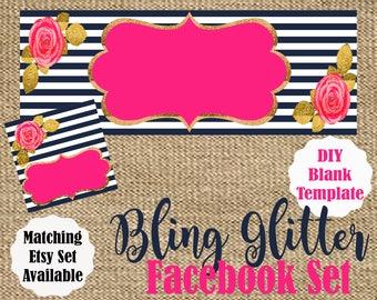 Navy Blue. Pink. Gold Glitter. Facebook Shop Set. Flowers. Boho Chic. Facebook Timeline Cover. Facebook Profile Image. Do It Yourself.