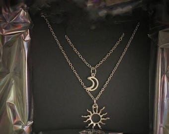 Sun and moon necklace set, matching jewellery, love, friend gift, silver plated chain, game of thrones, khaleesi and drogo, gift, lunar