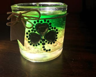 St Patricks Day Green with Pink Sea Glass Gel Candle