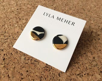 Gold Noir Ceramic Studs