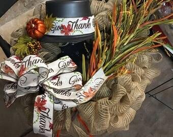 Turkey inspired Deco Mesh Wreath