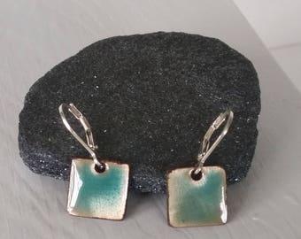 iridescent blue-green enamel earrings