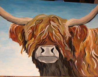 Acrylic Highland Cow Painting