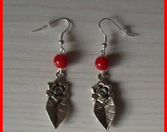 Flower and Red bead earrings
