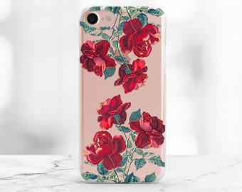iPhone 8 Case Floral iPhone X Case Clear iPhone 7 plus Case Flowers iPhone 8 Roses Case iPhone 8 Plus Case iPhone 6s Case Red Roses iPhone
