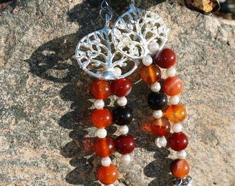 Gemstones fire agate earrings