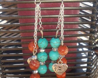 Red Jasper and turquoise dyed howlite earrings