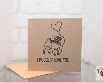 Puggin' Love | Hand drawn, unique Pug Valentines Day Card - Clive+Co