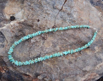 Turquoise Natural Stone Necklace, Navajo Handmade