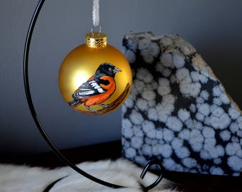 Baltimore Oriole Ornament, Hand Painted Bird Ornament