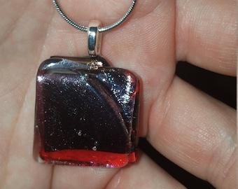Zume Glass - Split - Red/Purple Dichroic Handmade Glass Fused Pendant
