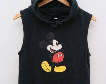 MICKEY MOUSE Walt Disney Cartoon Animation Black Vintage Vest Hoodies Sweater Sweatshirt