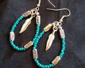Earrings, teal and silver