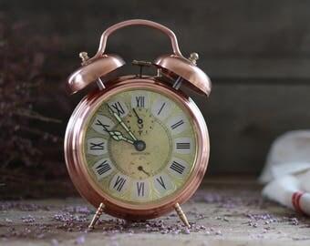 RETRO. Large French vintage pure copper clock JAZ. Mid Century. French clock. Vintage clock 60's. Vintage pendulum. Vintage alarm clock.
