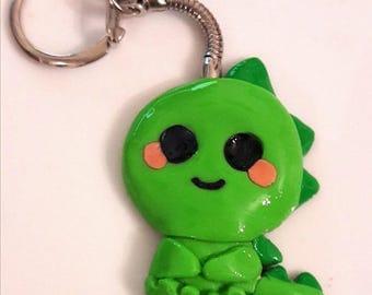 Little Dinosaur Kawaii Keyring Made With 100% Coloured Polymer Clay.