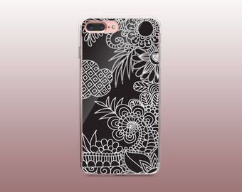 Floral Black & White Clear TPU Phone Case for iPhone 8- iPhone 8 Plus - iPhone X - iPhone 7 Plus-iPhone 7-iPhone 6-iPhone 6S-Samsung S8