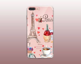 Paris Clear TPU Phone Case for iPhone 8- iPhone 8 Plus - iPhone X - iPhone 7 Plus-iPhone 7-iPhone 6-iPhone 6S-Samsung S8