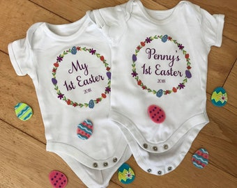 Personalised Easter Bunny Babygrow Vest , 1st Easter , Easter gift , Easter outfit , Baby vest , newborn gift