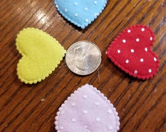 Cute Padded Dotted Hearts 20 Pieces for sewing/doll making/hairbow/scrapbooking/crafts, etc.