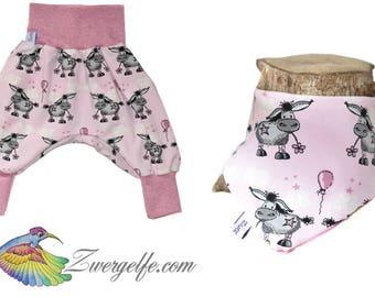 Baby set bloomers turn scarf donkey (Biojersey) Pink