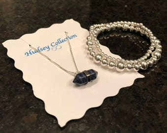 Blue Charm Necklace and Bracelet
