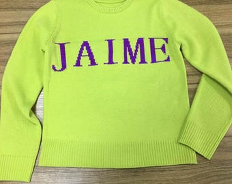 NAiME 2018 New Personalized Sweaters with NAME Monogram Jumper Colorful Rainbow Fashionable Sweater Made to Order