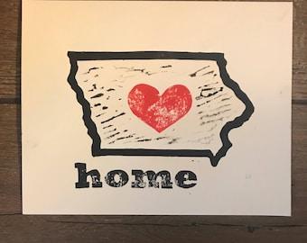 Iowa is Home Lino Print