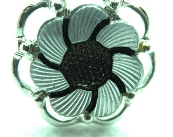 Sarah Coventry Silver and Black Ring