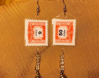 Handmade vintage postage stamp earrings