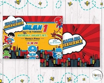 Comic boy birthday party super heroe digital invitation