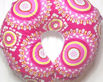 Boppy Pillow Cover | Nursing Pillow Cover | Boppy Cover | Pink Paisley with White Minky
