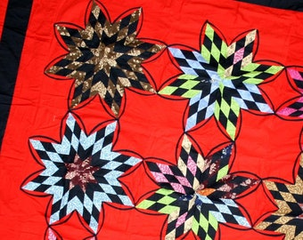 """9 Lone Stars with ( """"Flair additions"""") quilt top - a beauty when seen in person"""