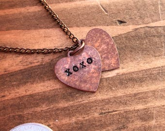 Copper necklace hidden message heart pendants