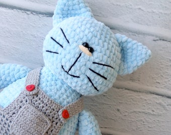 Plush Knitted Cat Soft Toy Kitty Cat in clothes Plush toy Toy for kids Soft toy cat Blue Plush Cat