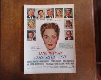 "1951 Original Vintage Movie ad ""The Blue Veil""  starring Jane Wyman"