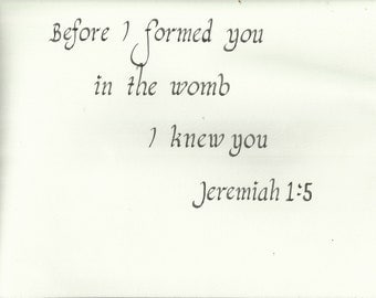 Bible Verse Jeremiah 1:5 In the Womb Nursery New Baby