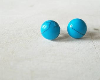 Stud Earrings, Minimalist Earrings, Gemstone Earrings, Turquoise Earrings, Gemstone Jewelry, Gift for Women, Valentine's Day Gift for Her
