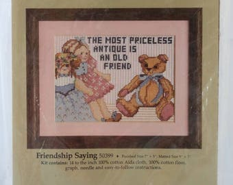 Counted Cross Stitch Kit | Bears | Friendship Saying