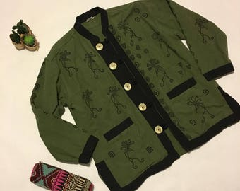 Vintage Hippie Tribal Nepal Green Jacket Small