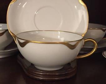 Set of 4 Vintage Haviland Tea Cup and Saucer,