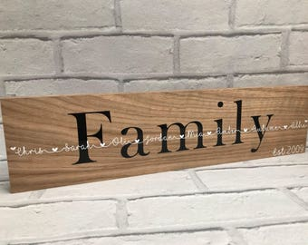 Personalised free standing oak plaque
